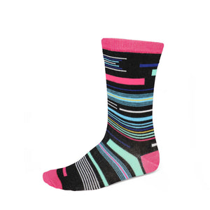 Women's funky striped socks in fuchsia, black and other bright colors