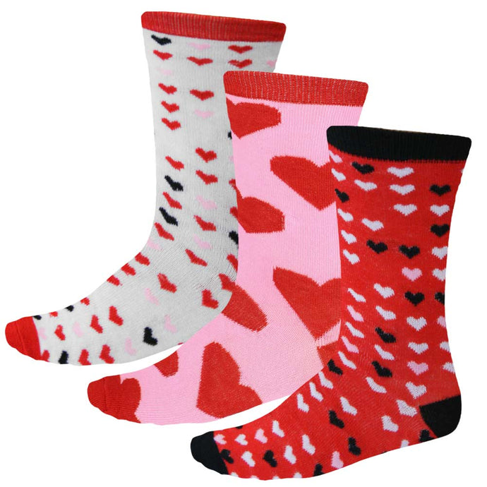 Women's multi pack of red, pink, white and black heart socks
