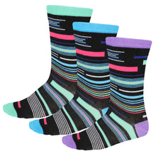 Load image into Gallery viewer, Women's socks in funky retro stripes, 3 pack