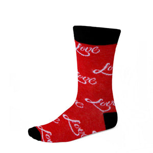Women's love theme socks in red, black and white