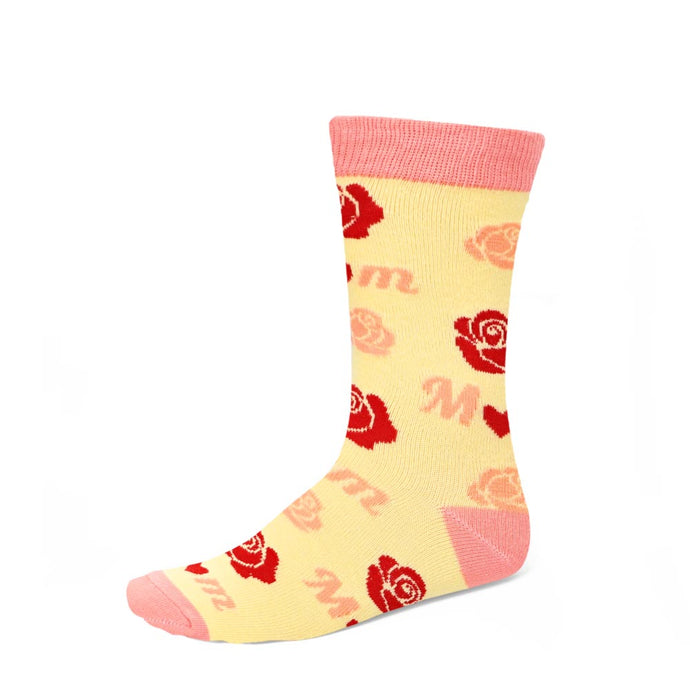 Mom novelty socks designed roses and hearts