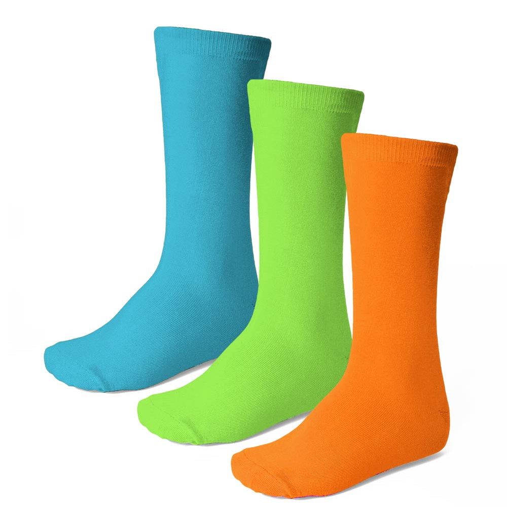 Women's solid crew socks in neon orange, lime green and turquoise