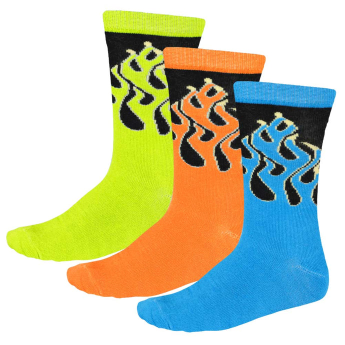 Women's 3-pack socks with blue, neon orange and fluorescent yellow flame pattern