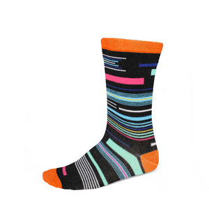 Women's funky striped socks in orange, black and other bright colors