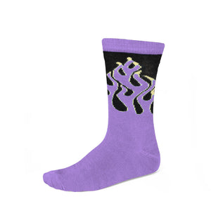 Women's purple flame pattern socks