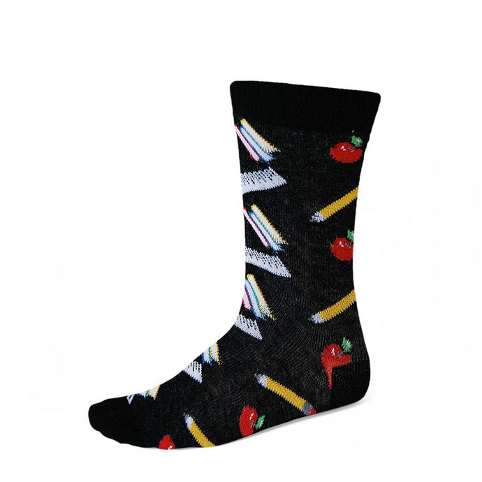 Women's school theme socks on black background