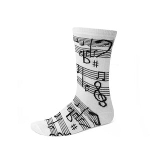 Black and white sheet music socks