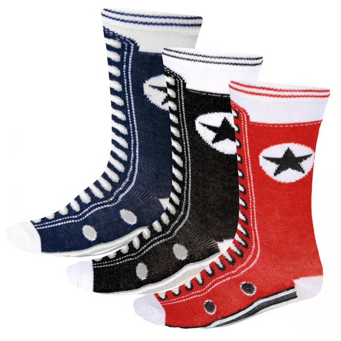 3 pack sneaker novelty socks in red, black and navy blue