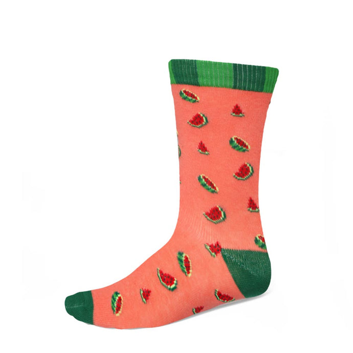Women's watermelon design socks on a coral background