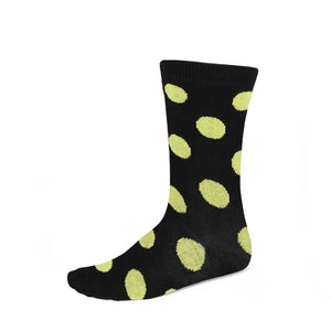 Women's yellow and black polka dot crew socks