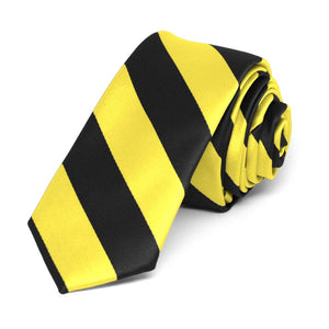 "Yellow and Black Striped Skinny Tie, 2"" Width"