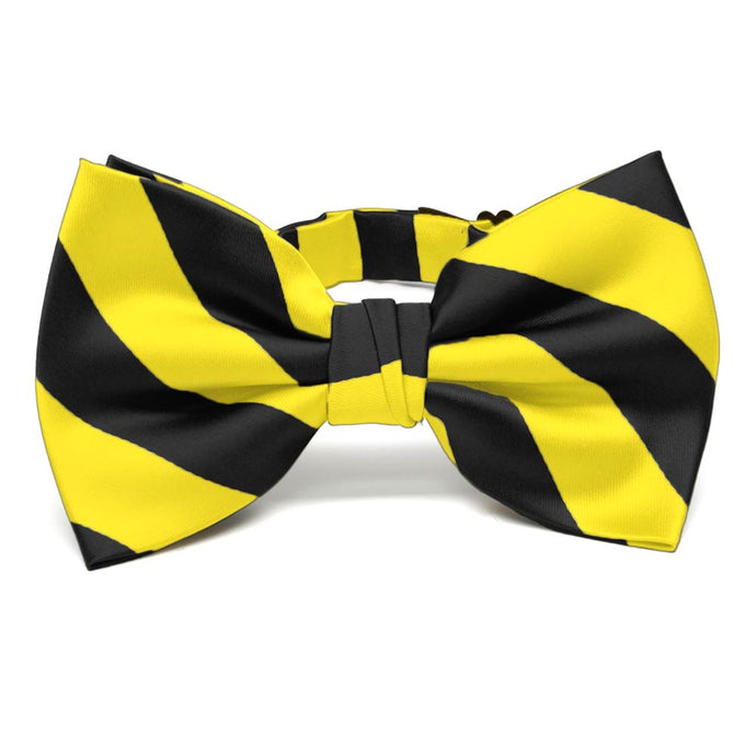 Yellow and Black Striped Bow Tie