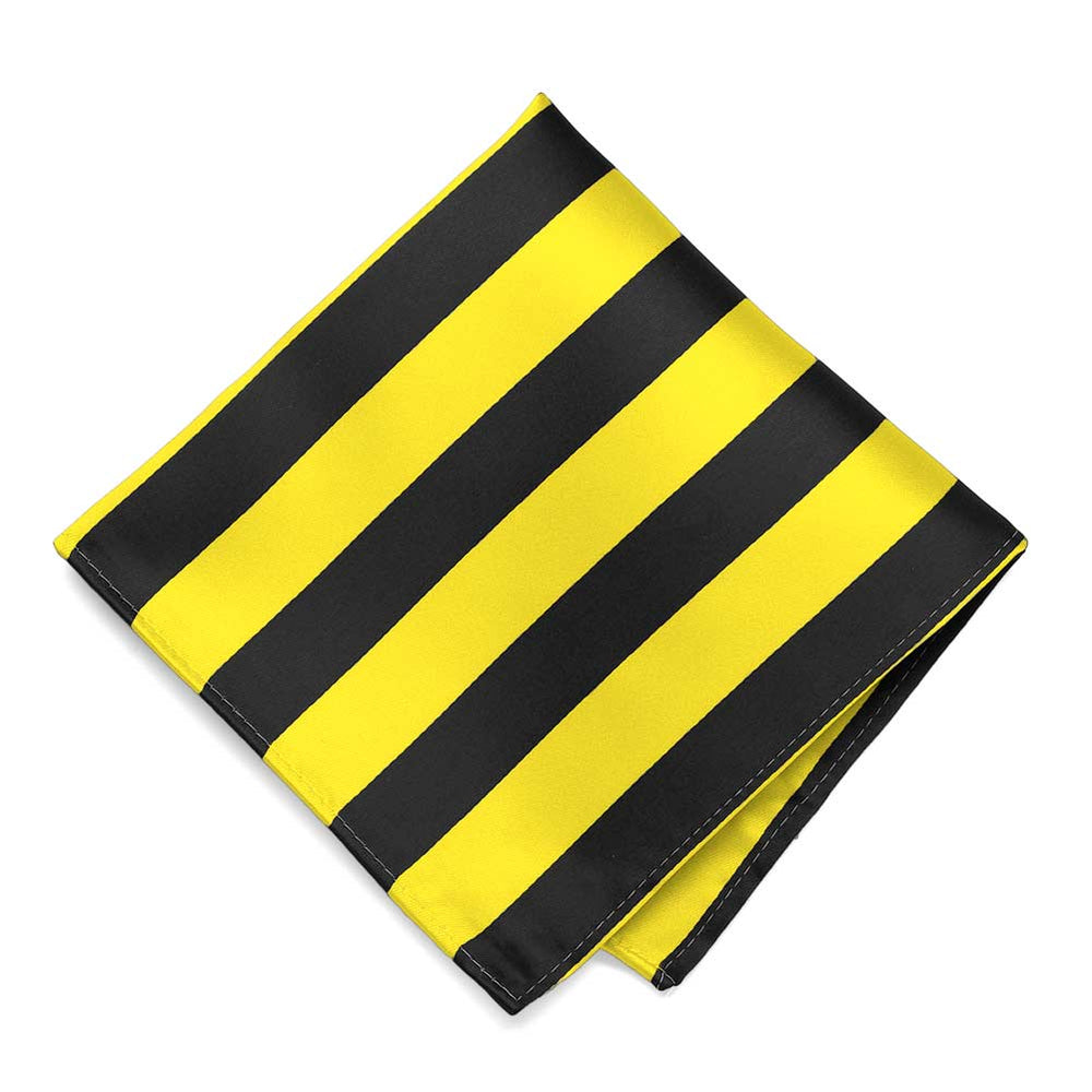 Yellow and Black Striped Pocket Square
