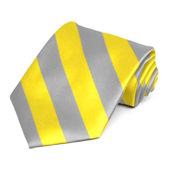 Yellow and Silver Striped Tie