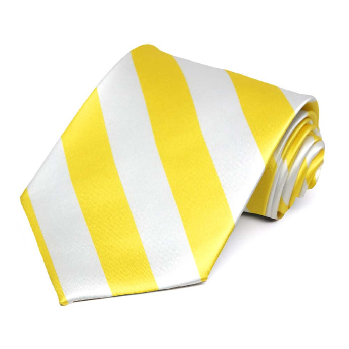 Yellow and White Striped Tie
