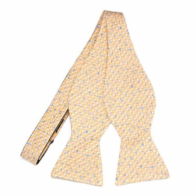 Apricot Matriarch Plaid Linen/Silk Self-Tie Bow Tie