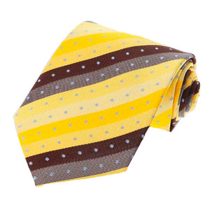 Yellow and Brown Manchester Striped Necktie