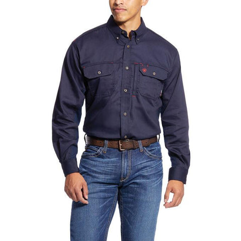 ARIAT FR SOLID VENT SHIRT - MEN'S - NAVY - 10019062