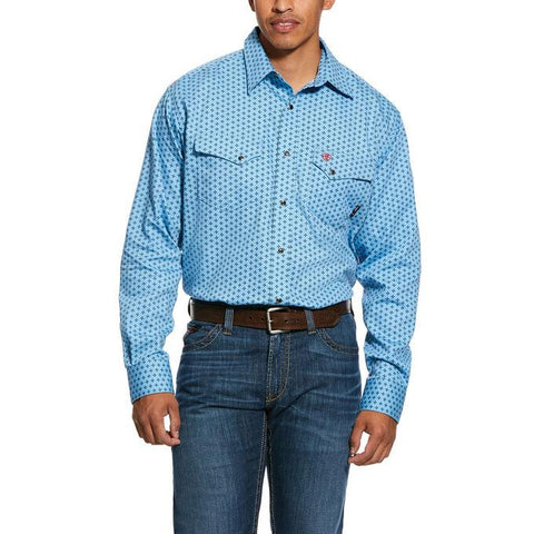 ARIAT FR TUNGSTEN CLASSIC FIT SNAP WORK SHIRT - MEN'S - BONNIE BLUE - 10030321