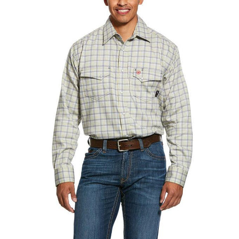 ARIAT FR WHETSTONE CLASSIC FIT SNAP WORK SHIRT - MEN'S - HARBOR MIST - 10030324