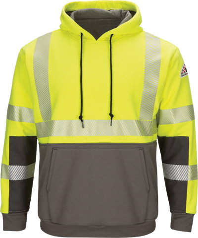 BULWARK HI-VISIBILITY COLOR BLOCK PULLOVER FLEECE SWEATSHIRT - MEN'S - YELLOW - SMB4