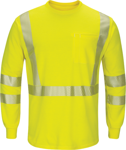 BULWARK LIGHTWEIGHT FR HI-VISIBILITY LONG SLEEVE T-SHIRT - MEN'S - YELLOW - SMK8