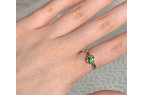 Lakeside Leaves- 14k Green Tourmaline Gemstone Ring