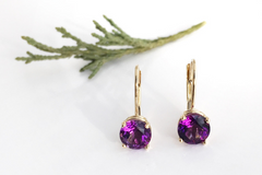 Cotton Hill: Amethyst Earrings in a 14k Yellow Gold Setting