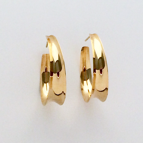 Channel Hoops: 14k Gold Earrings