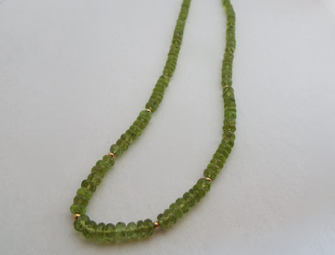 Summer Field: Hand Stung Peridot Necklace