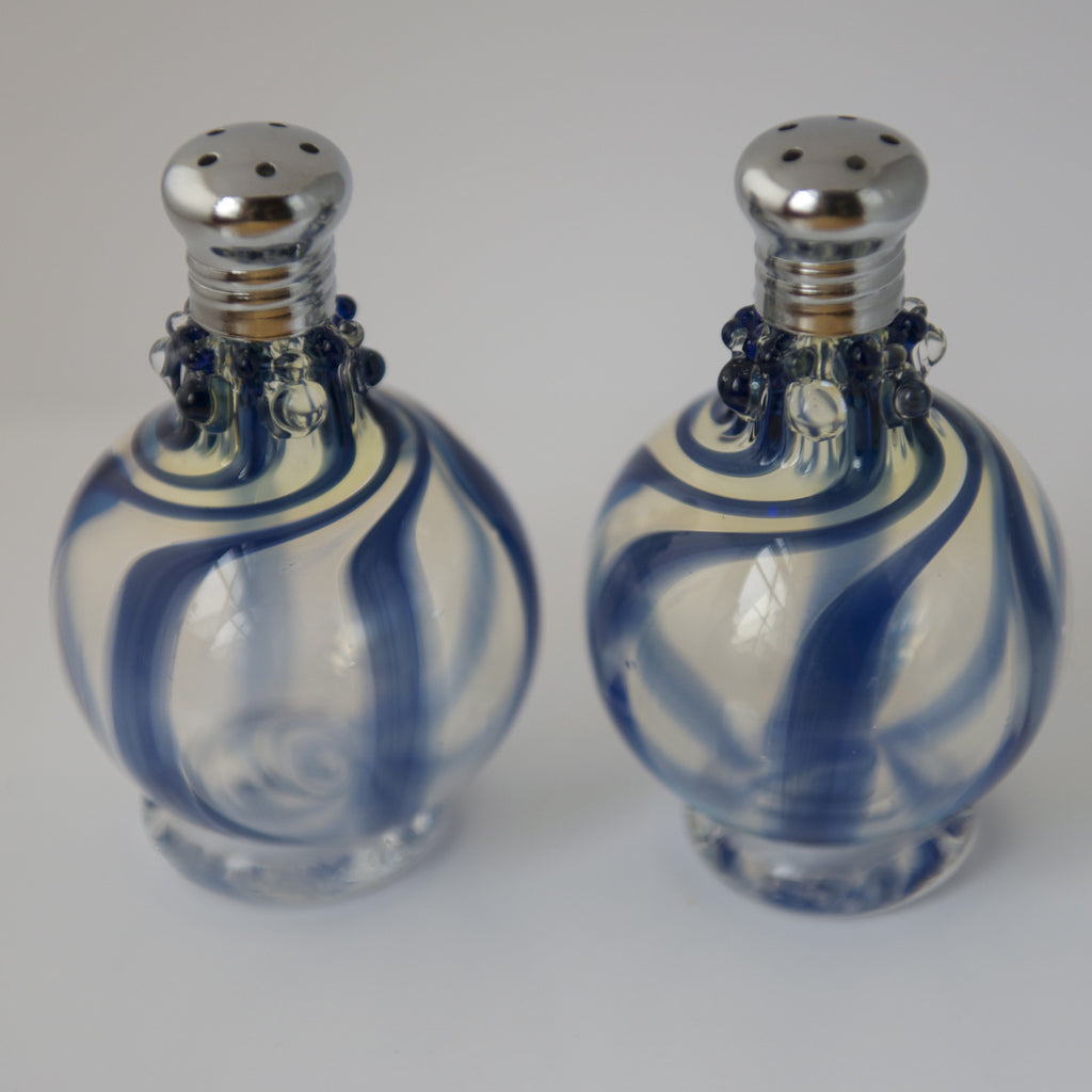 Blue Swirl Glass Salt & Pepper Shaker Set by Glass Act (large)