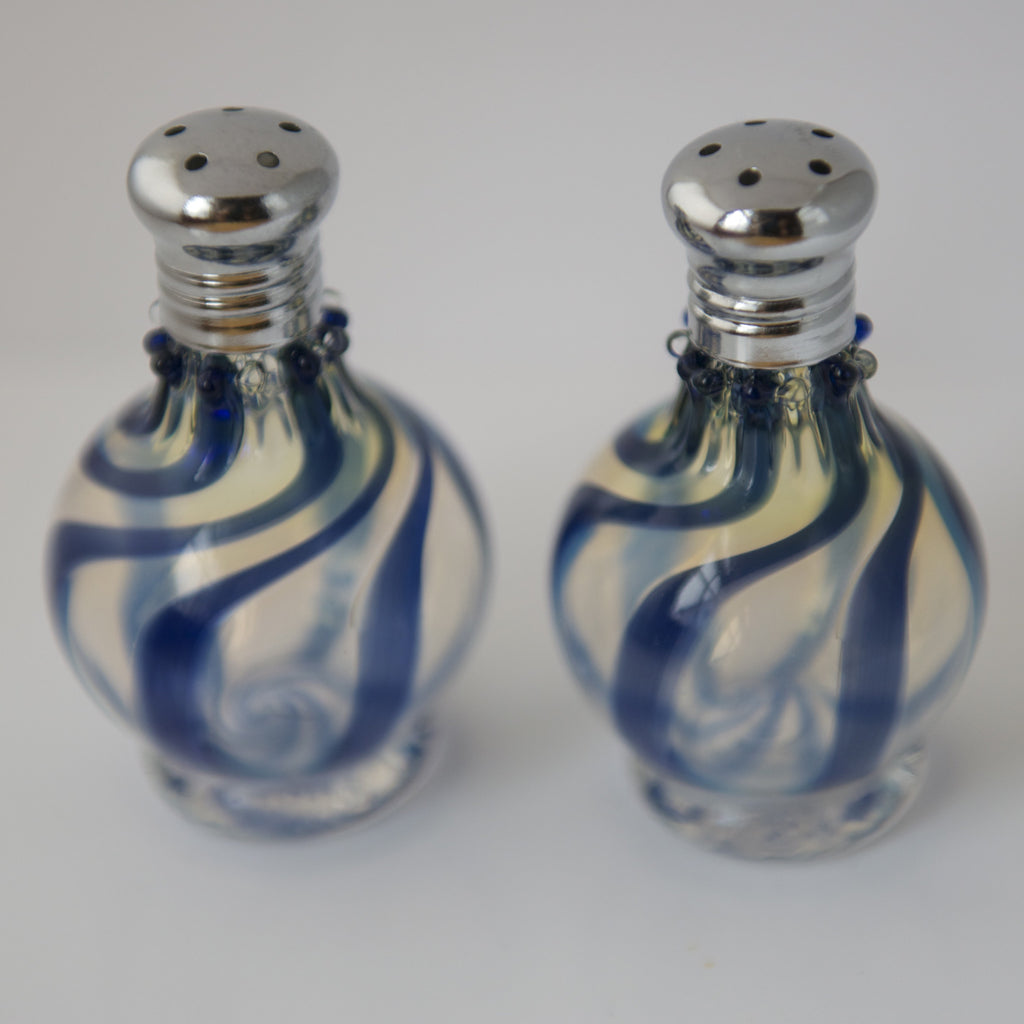 Blue Swirl Glass Salt & Pepper Shaker Set by Glass Act (small)