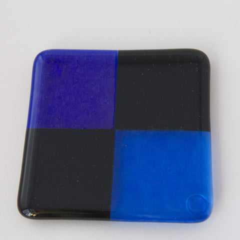 Set of Four Blue and Black Coasters by Ernest Porcelli