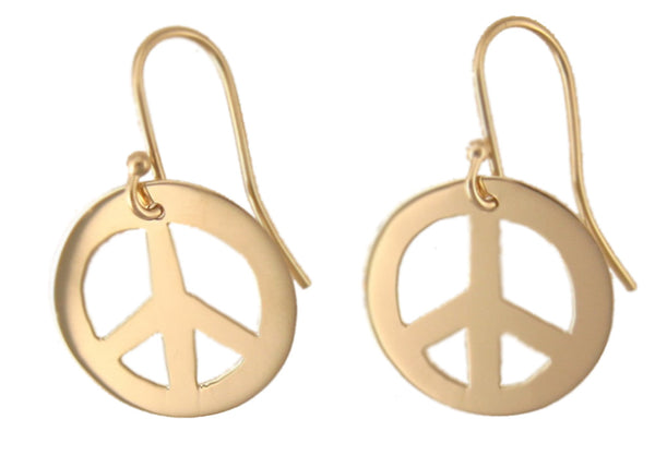 Peace Sign: 14k Gold Earrings