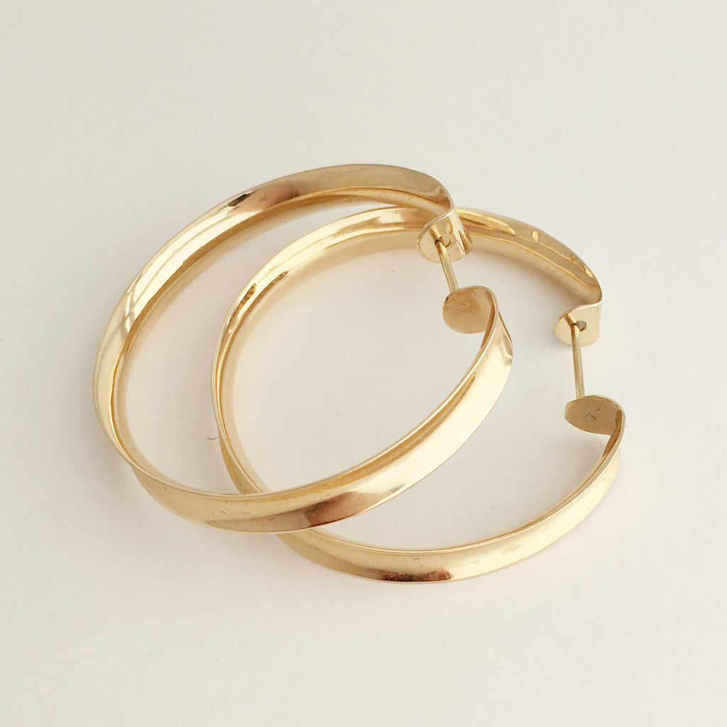 Channel Hoops: 14k Yellow Gold