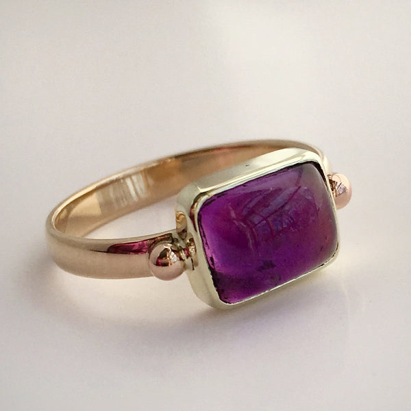 Royal Purple:  Maine Amethyst Yellow Gold Ring