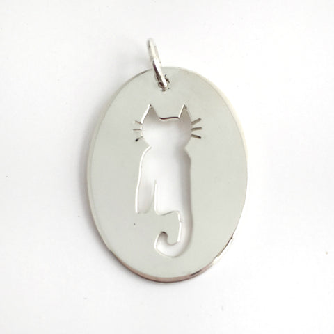 Cat Pendant in Sterling Silver