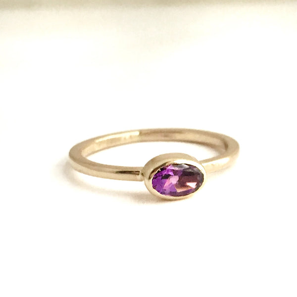 Spring Violet:  Maine Amethyst Bezel Set in 14K Yellow Gold Ring