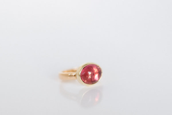Sunrise: Maine Pink Tourmaline Yellow Gold Ring