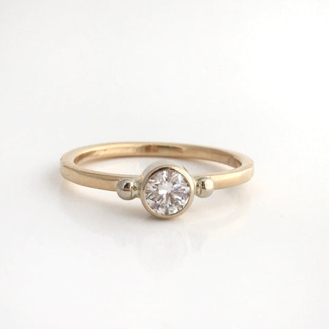 Star Light Diamond Stacking Ring in 14k Yellow and White Gold