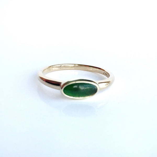 Winter Green: Tourmaline Ring Bezel Set in 14k Green, White and Yellow Gold