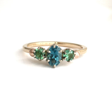 Long Lake: Maine Bright Blue and Green Tourmaline Yellow 14k Gold Ring