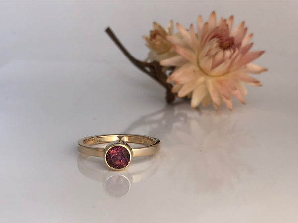 Pink Poise: Pink Maine Tourmaline Yellow Gold Ring