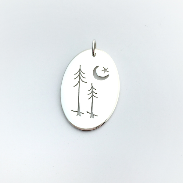 Sterling Silver Evergreen Couple and Star Pendant