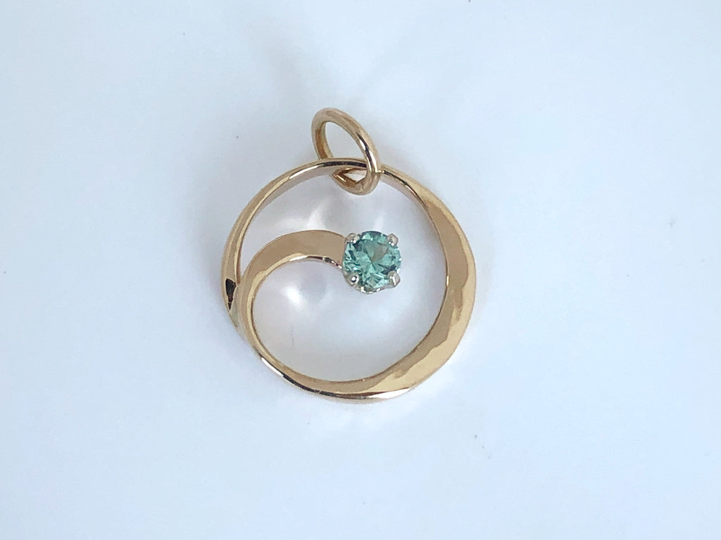 Circle of Life: Blue Tourmaline and 14K Gold Pendant