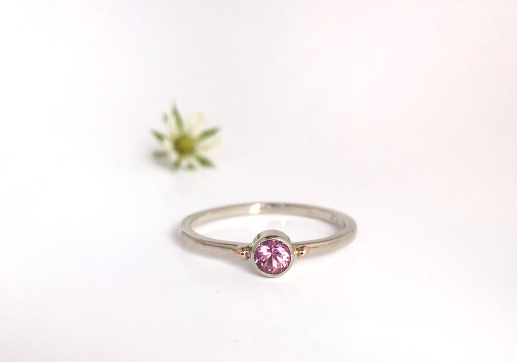 Dawn: Pink Maine Tourmaline with Rose and White Gold