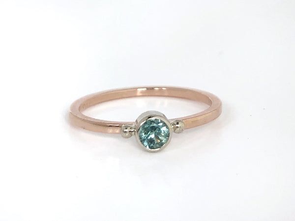Forget Me Not: Maine Blue Tourmaline 14k Rose Gold Ring