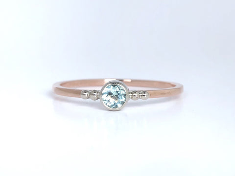 Baby Blue: Maine Blue Tourmaline 14K White and Rose Gold Ring