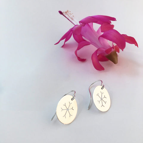 Small Handmade Silver Snowflake Earrings