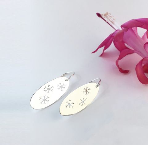 Large Handmade Silver Snowflake Earrings